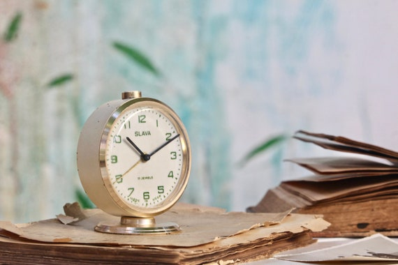 Small Vintage Wind Up Clock Bedroom Clock Soviet Clock Alarm Clock Table Clock Mechanical Clock Teacher Gift Christmas Gift