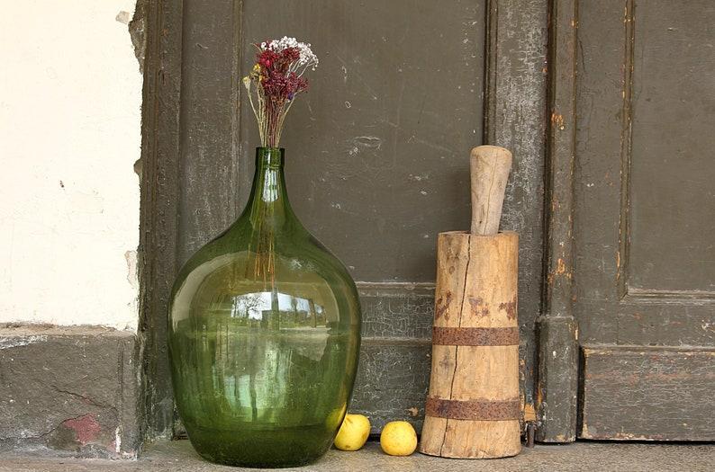 Green Carboy Large Glass Bottle Vintage Wine Demijohn Etsy