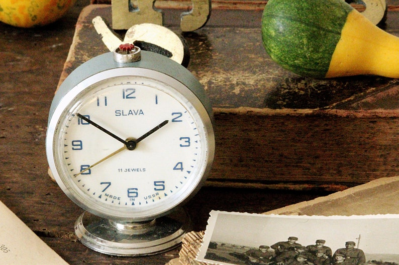 Blue Vintage Desk Clock Small Alarm Clock Retro Bedroom Etsy