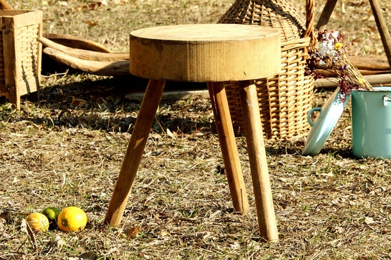 Sensational Three Legged Milking Stool Small Wood Primitive Stool Antique Furniture Farmhouse Stool Plant Holder Rustic Farmhouse Decor Squirreltailoven Fun Painted Chair Ideas Images Squirreltailovenorg