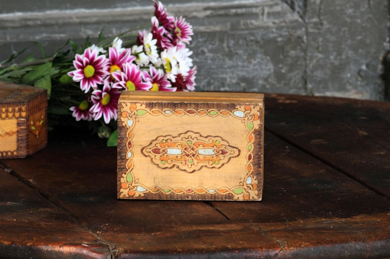 Wooden Jewelry Box Wooden Trinket Box Floral Jewelry Box Keepsake Box Jewelry Box Storage Box Rustic Home Decor Christmas Gift For Her