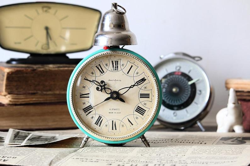 Large Retro Alarm Clock  Blue Russian Clock  USSR Vintage image 0
