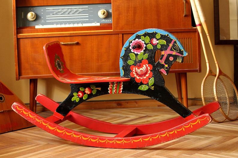 Rocking Horse Wooden Rocking Horse Childs Wood Horse Rocking Toy Large Horse Toy Vintage Wooden Horse Horse Decoration