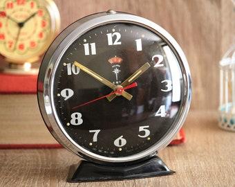 Round Vintage Clock - Brown Retro Alarm Clock - Living Room Clock - Desk Clock - Bedside Clock - Bedroom Clock - Gift For Boyfriend