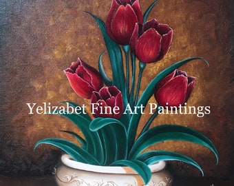 Red Tulips Oil Painting