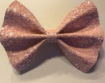 Iridescent baby pink chunky glitter pinch bow, spring hair bow clip, girl gifts baby headband, baby shower gift, party favors