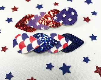 Red white and blue flag, USA hair accessory, memorial day faux leather clip, 4th of july chunky glitter headband, baby headband,