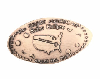 Great American Solar Eclipse • Copper • Event Collection • Party Favor • Pressed Copper Penny