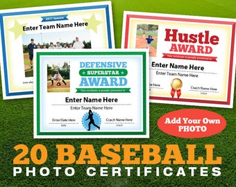 Baseball Photo Certificates, Baseball Awards, Kid Certificates, Certificates  Templates, Baseball Mom, Little League, Tball