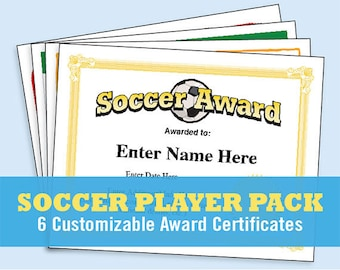 soccer certificates editable soccer awards templates child etsy