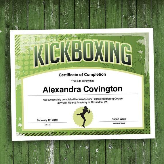 Kickboxing Customizable Certificate Download Printable Etsy