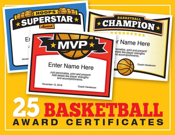 Basketball Certificates Editable 25 Award Templates Kid Etsy