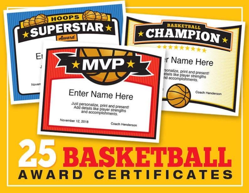 Basketball Certificates Editable 25 Award Templates Kid Etsy