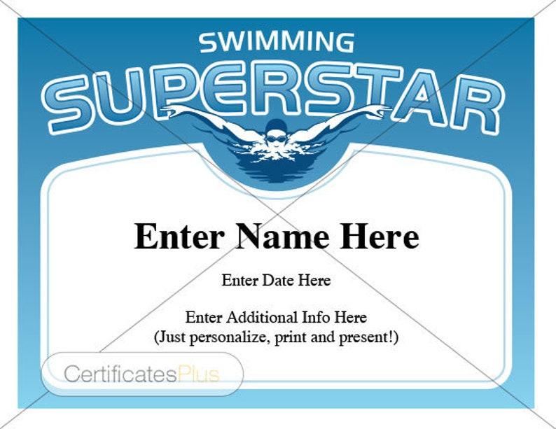 Swimming Superstar Certificate Child Certificate Kid Etsy