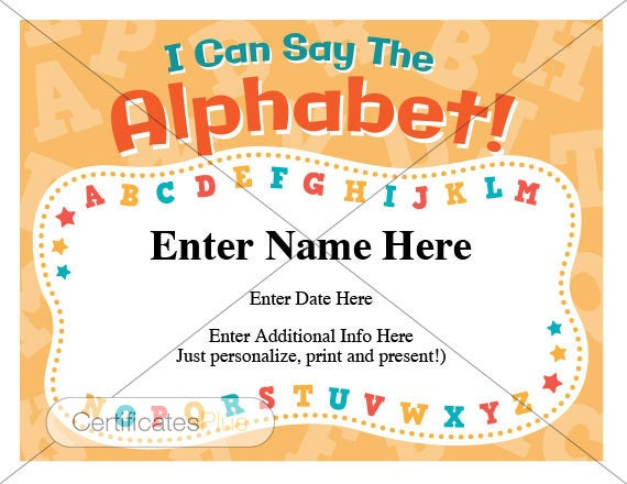 Kid certificate ABC\'s certificate child certificate | Etsy