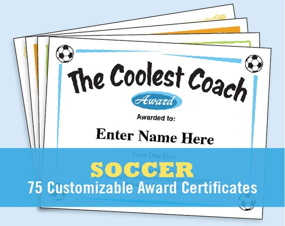 soccer certificates editable soccer awards templates child etsy
