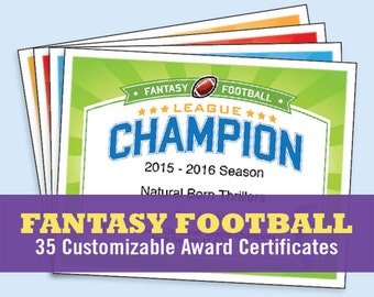 Football certificates templates youth football kid fantasy football certificates fantasy football trophy champion award templates fantasy football lovers etsy top sellers championship yelopaper Images