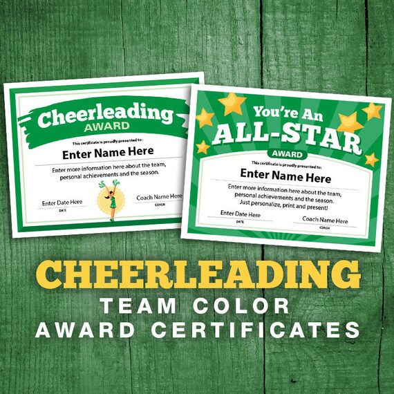 graphic regarding Cheerleading Templates Printable titled 2 Cheerleading Inexperienced Personnel Shade Certificates, Editable Cheerleader Certification, Cheer Staff Award Printable Templates