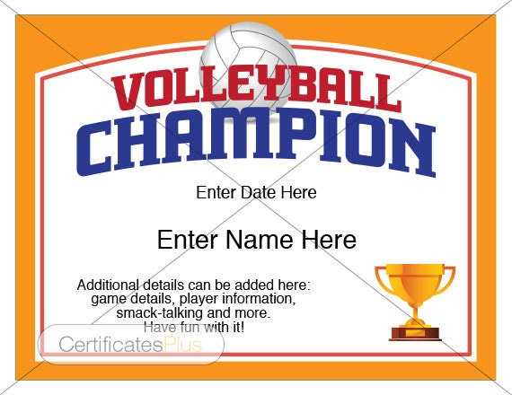 Volleyball Certificate Volleyball award template Volleyball | Etsy