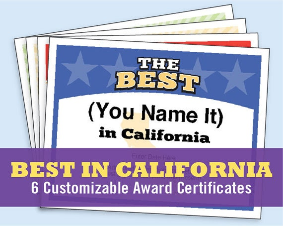 the best in california customizable award certificates kids etsy