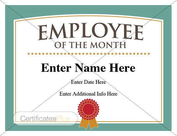 employee of the month certificate business award employee