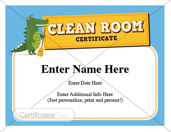 kid certificate clean room award child certificates kids etsy