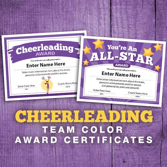 2 Cheerleading Purple Team Color Certificates, Editable Cheerleader  Certificate, Cheer Team Award Printable Templates