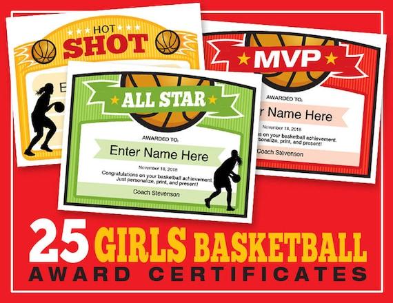 Girls Basketball Certificates 25 Editable Award Templates Etsy