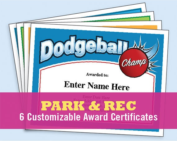 park rec certificate pack hide and seek kickball etsy