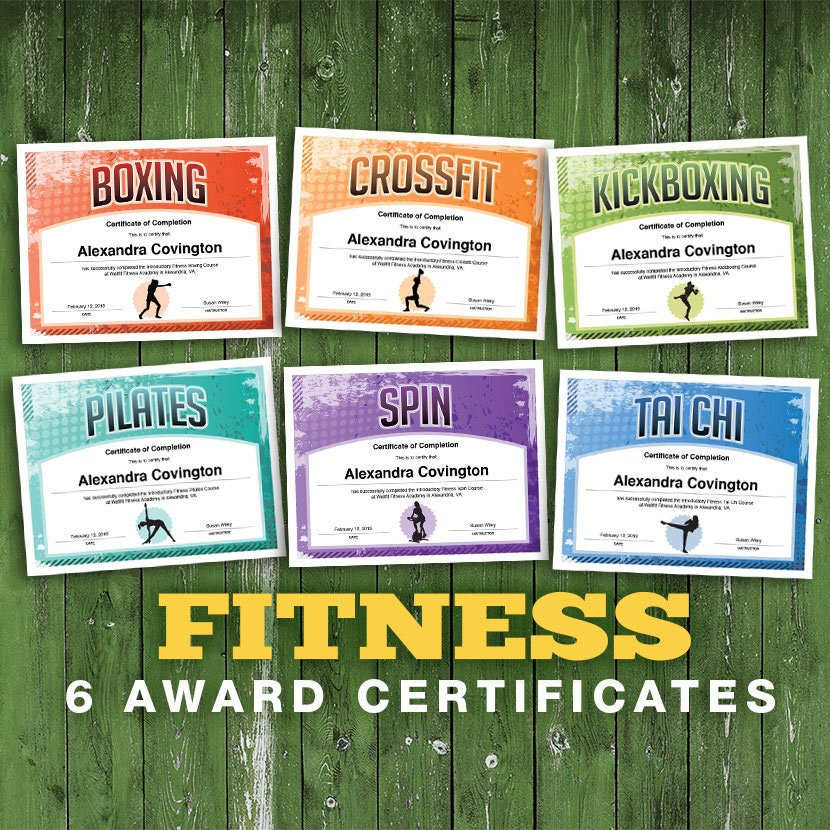6 Fitness Customizable Certificates, Download Printables, boxing crossfit  kickboxing pilates spin tai chi certificate templates