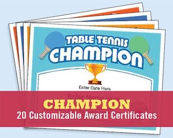 Champion Certificates, kid Certificates, golf, tennis, darts, pool, yard games, ping pong, ladder golf, volleyball, foosball. Awards
