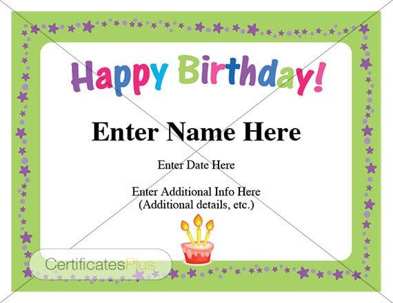 happy birthday certificate kid certificates birthday cards etsy