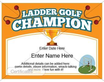 Ladder Golf Certificate, Champion Award, ladder golf, award template, yard games, father's day gift, backyard games, fun certificates