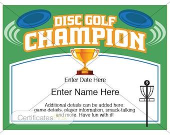Disc Golf Certificate, Champion Award, Disc Golf award template, disc golf trophy, disc golf disc, yard games, disc golfer, frisbee golf