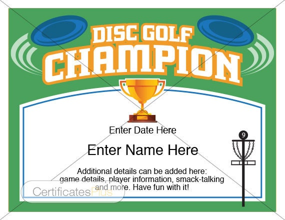 Disc golf certificate champion award disc golf award zoom yelopaper Choice Image