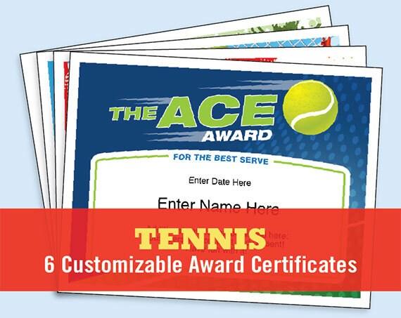 Tennis Certificate Pack Tennis Award Template Tennis Awards Tennis Trophy Tennis Gifts Tennis Mom Tennis Coach Tennis Tournament