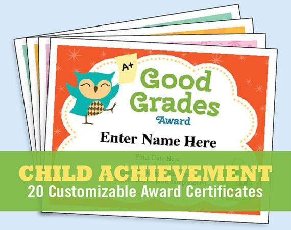 child certificates achievement pack kids certificates etsy