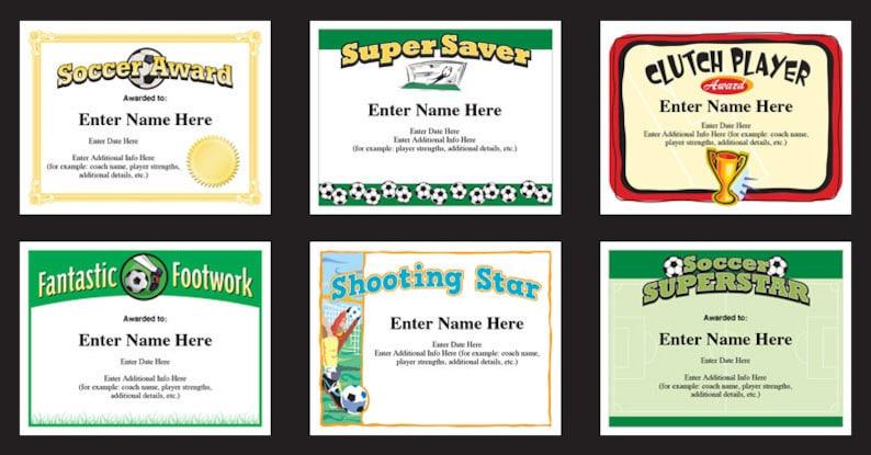 Kid Certificate Soccer Coach Soccer Award Templates child certificate Soccer Certificates Player Pack Soccer Certificates Soccer Mom