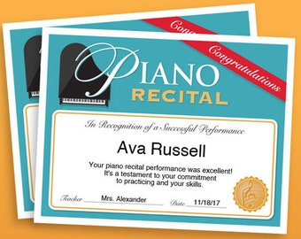 Piano Recital Certificate, Piano Award Printables, child certificate, Piano template certificates