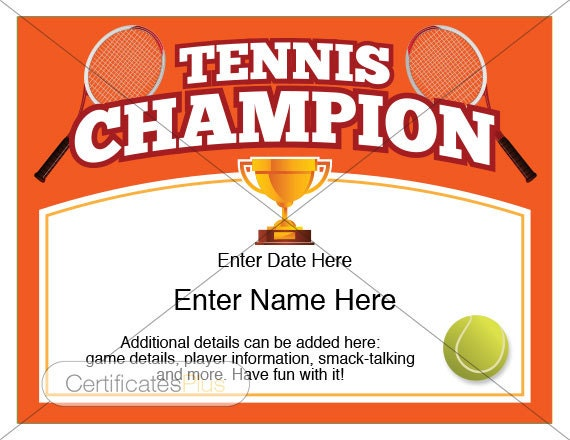 Tennis Certificate Champion Award Tennis Award Template Tennis Awards Tennis Trophy Tennis Gifts Tennis Mom Tennis Coach