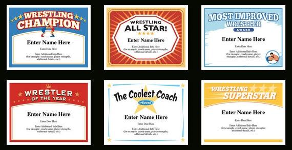 Wrestling Certificate Pack Wrestling Team Wrestler Award Etsy