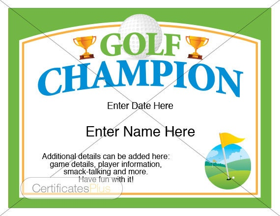 golf certificate golf award template golf trophy etsy