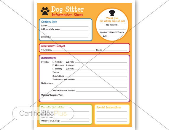 dogsitter information form dog sitter puppy instructions etsy