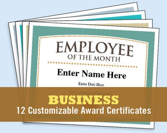 Business Certificates Award Certificate Templates Employee Etsy