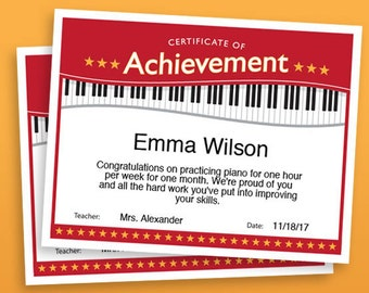 Piano Achievement Certificate, Piano Award Printables, child certificate, Piano template certificates
