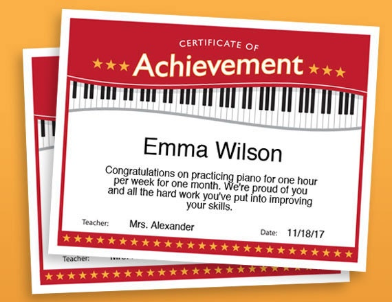 graphic regarding Printable Certificates of Achievement named Piano Accomplishment Certification, Piano Award Printables, little one certification, Piano template certificates