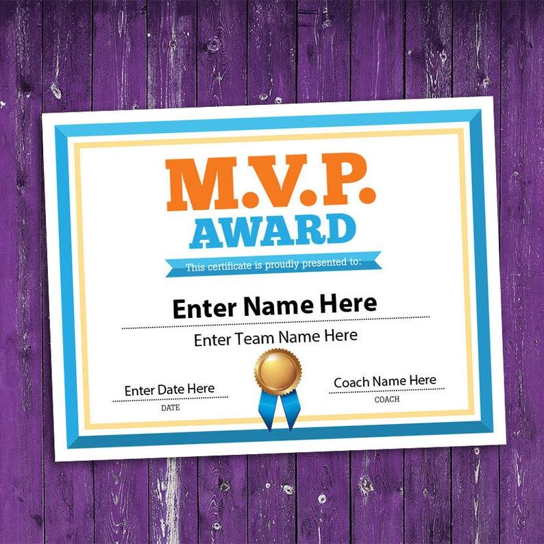 Mvp Award Certificate Mvp Sports Award Template Etsy