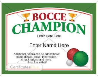 Bocce Certificate, Bocce Champion Award, bocce award template, bocce fan, bocce lover, bocce set, bocce balls, yard games, trophy