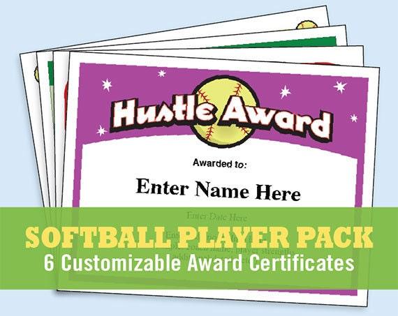 softball certificates player pack softball certificates etsy