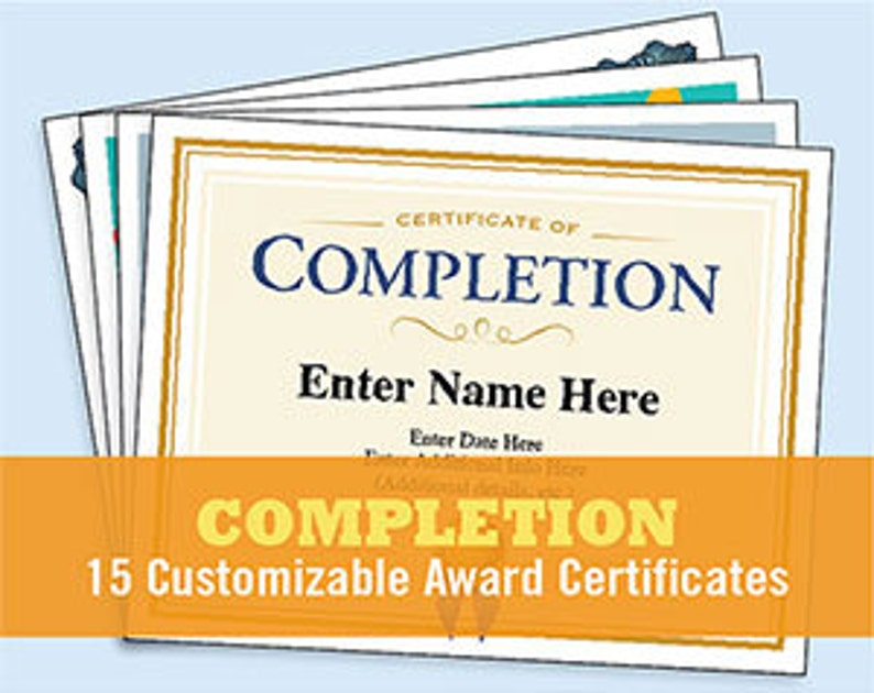 Certificate Of Completion Bundle Of Appreciation Digital Etsy